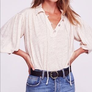 NWT Free People Rush Hour top Pearl Dust size L